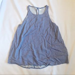 High Neck Blue Print Tank Top